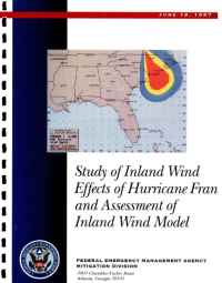 [graphic of cover of report-Study of Inland Wind Effects of Hurricane Fran and Assessment on Inland Wind Model]