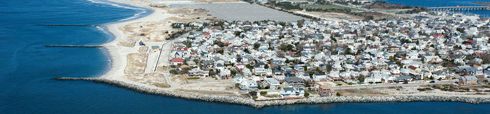 Aerial view of coastal community