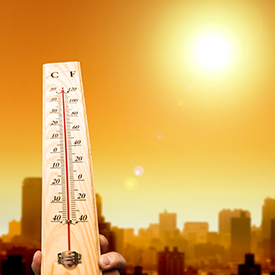 Thermometer illustrating projected climate change