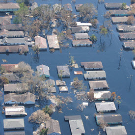 Aerial image of flooded neighborhood