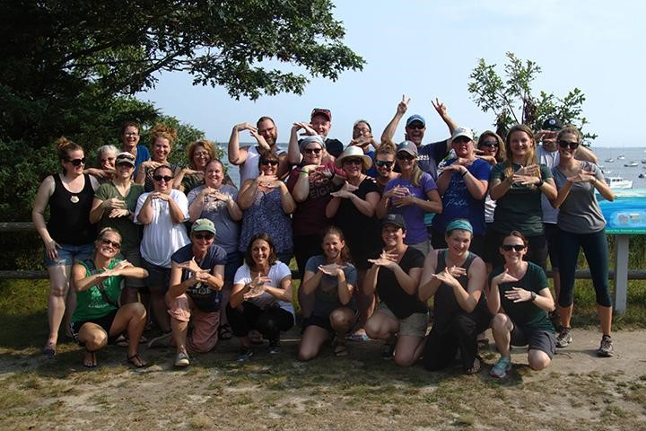 Group picture of TOTE WADE summer program at Waquoit Bay Research Reserve.