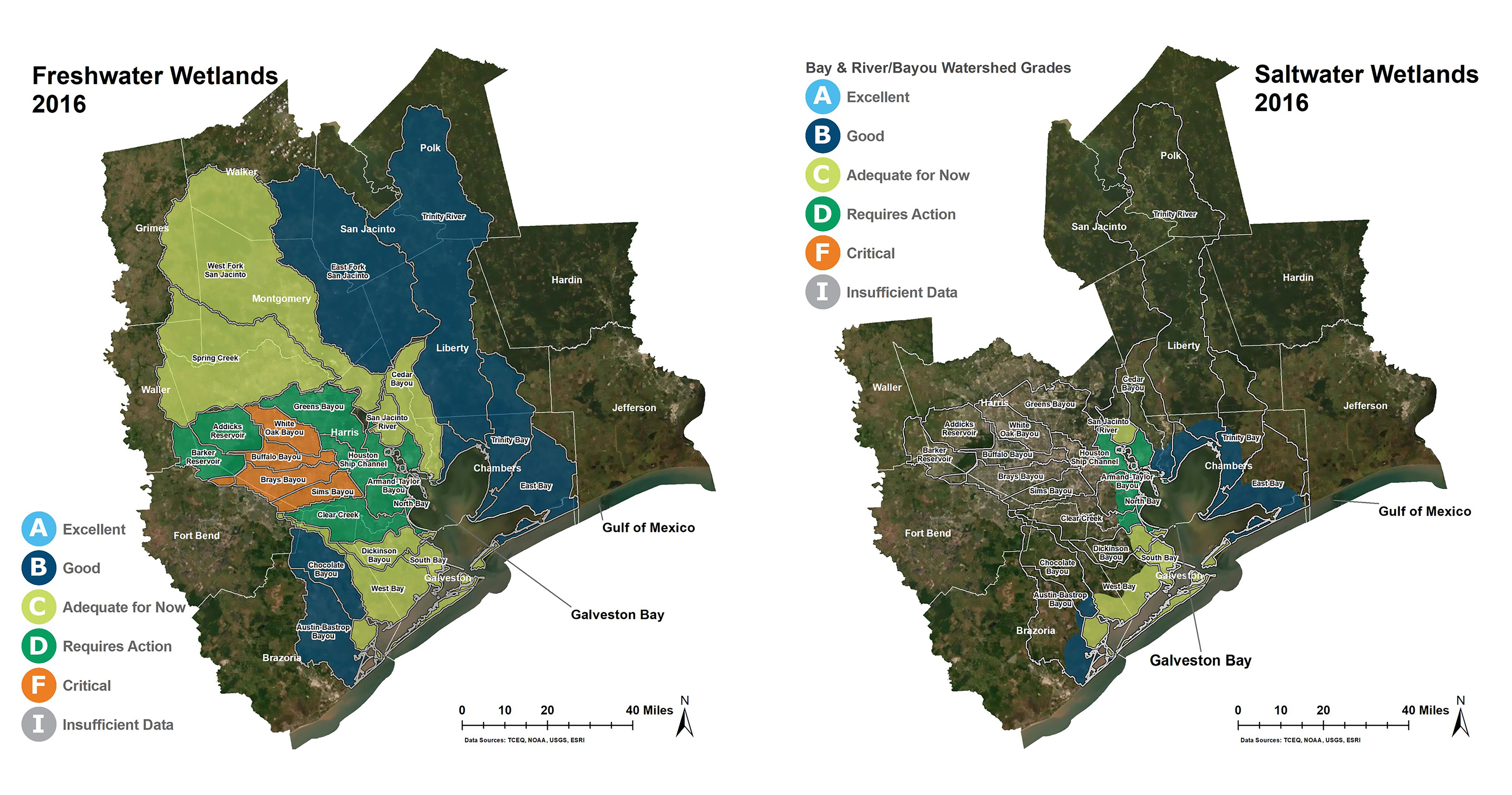 2016 maps of freshwater and saltwater wetlands in Galveston Bay, Texas. Colors indicate wetland loss. See caption for details.
