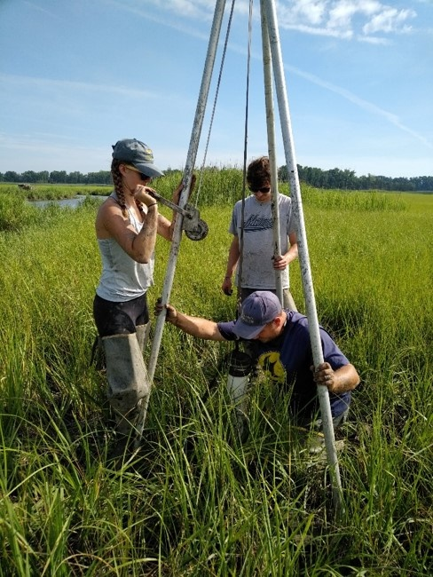 Graduate students in the field